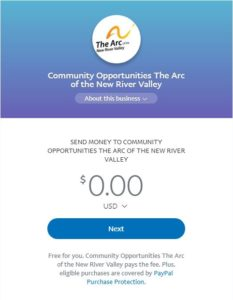 Arc of the New River Valley PayPal.Me screen