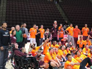 Special Olympics participants in the gym in Roanoke, VA
