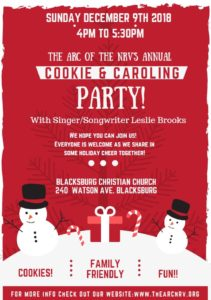 Join us December 9, 2018 for the Arc of the New River Valley's Annual Cookie and Caroling Party!